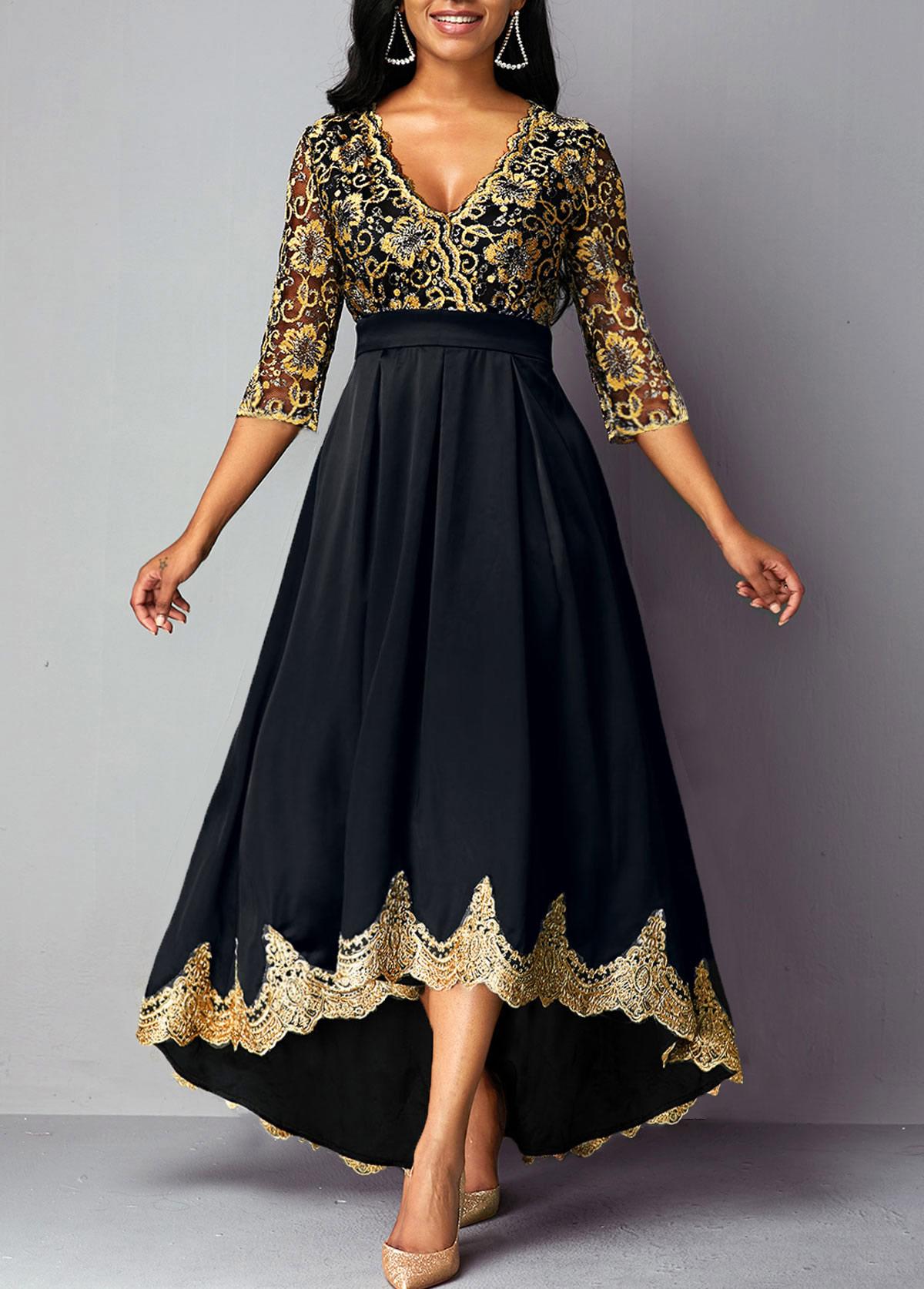 High Waist V Neck Lace Panel Dress