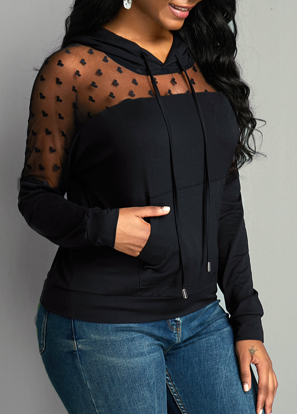 Long Sleeve Pouch Pocket Mesh Panel Hoodie