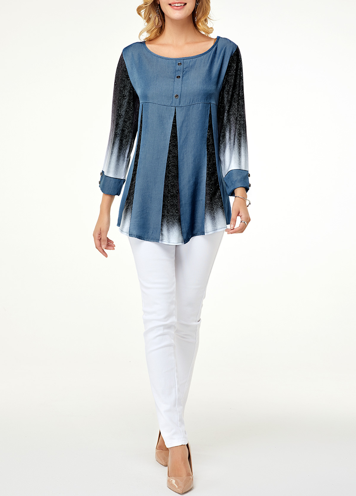 Printed Round Neck Three Quarter Sleeve Blouse