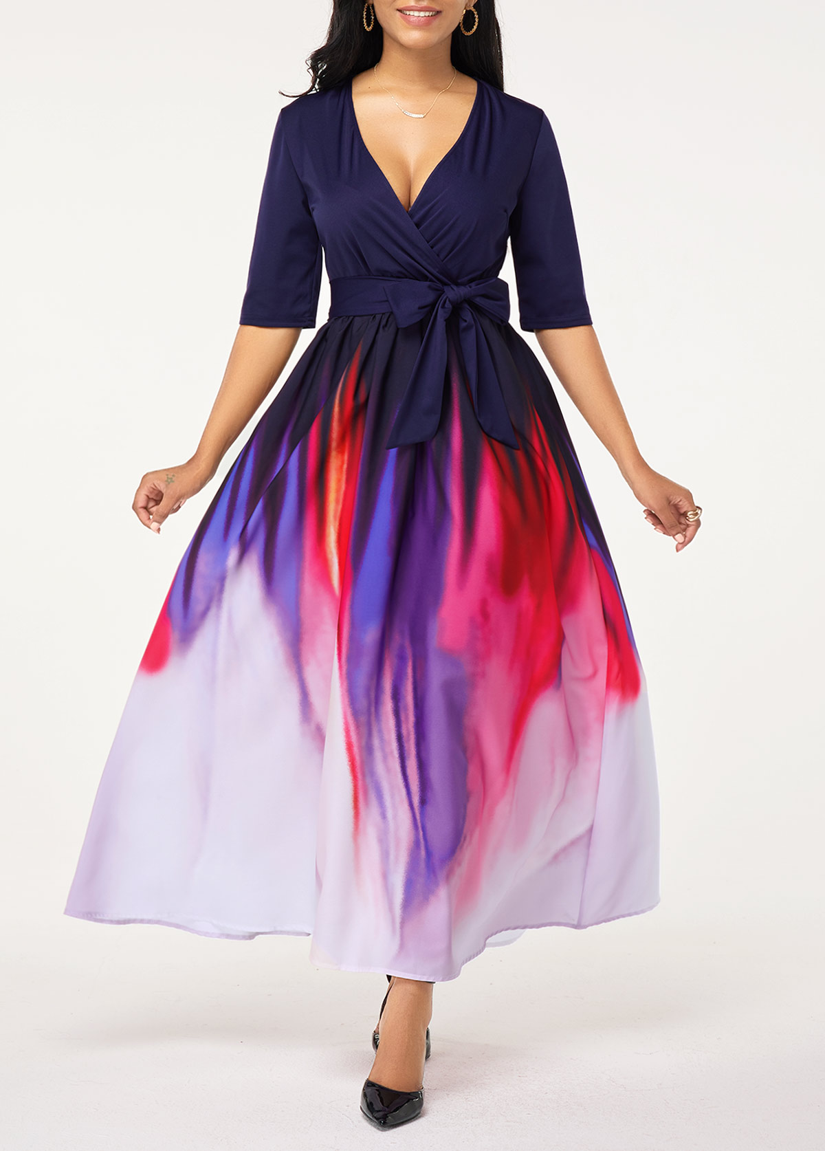 Half Sleeve Plunging Neck Belted Gradient Maxi Dress