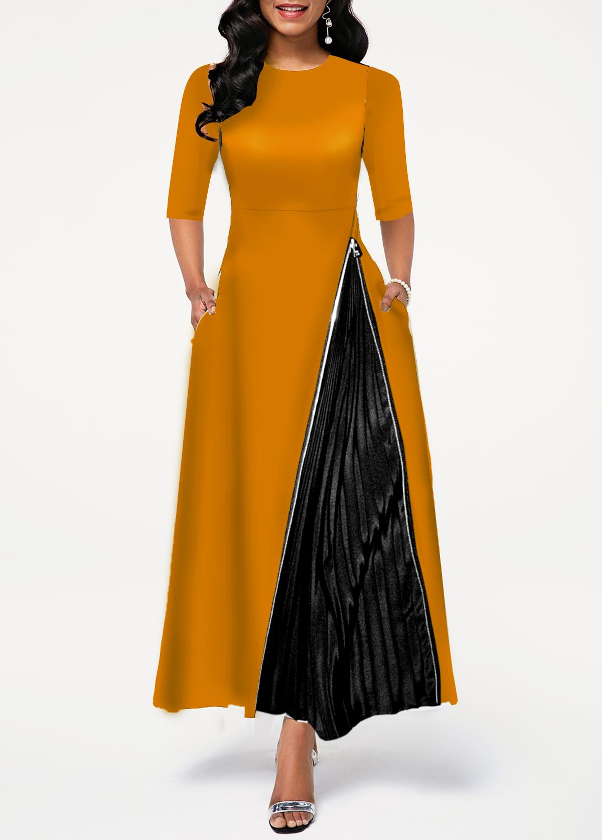 Round Neck High Waist Zipper Detail Dress