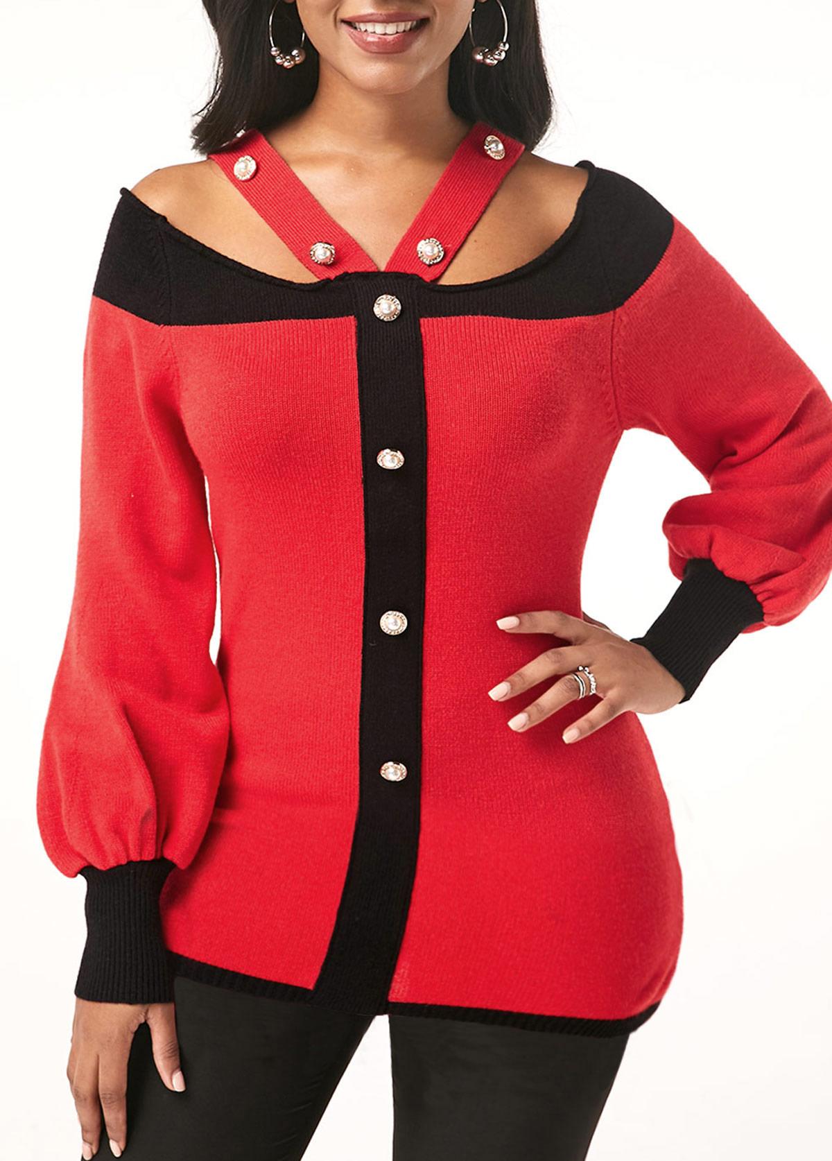 Blouson Sleeve Cold Shoulder Pearl Embellished Sweater
