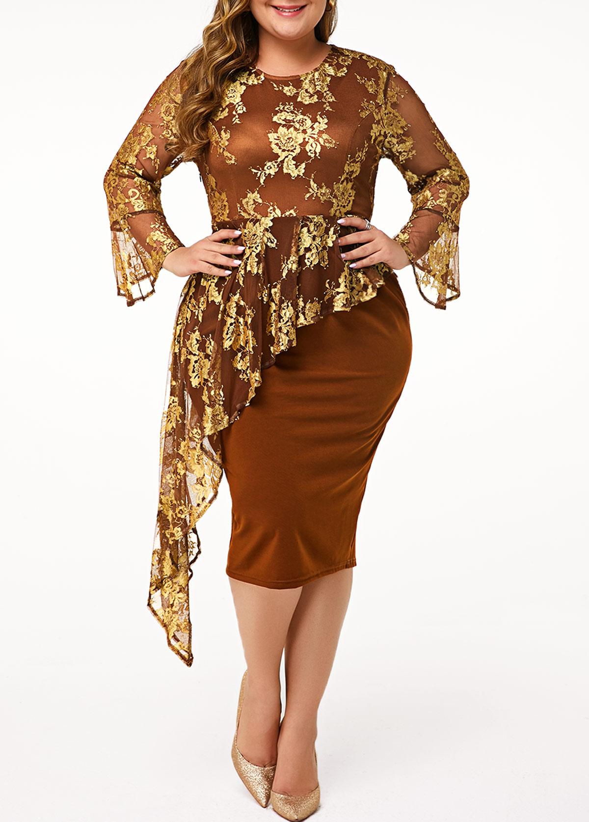 Flare Cuff Peplum Waist Plus Size Dress