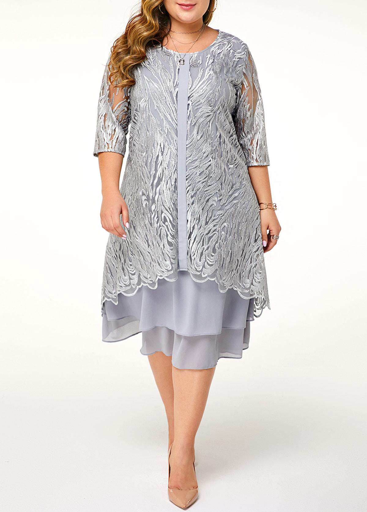 Three Quarter Sleeve Plus Size Lace Patchwork Dress