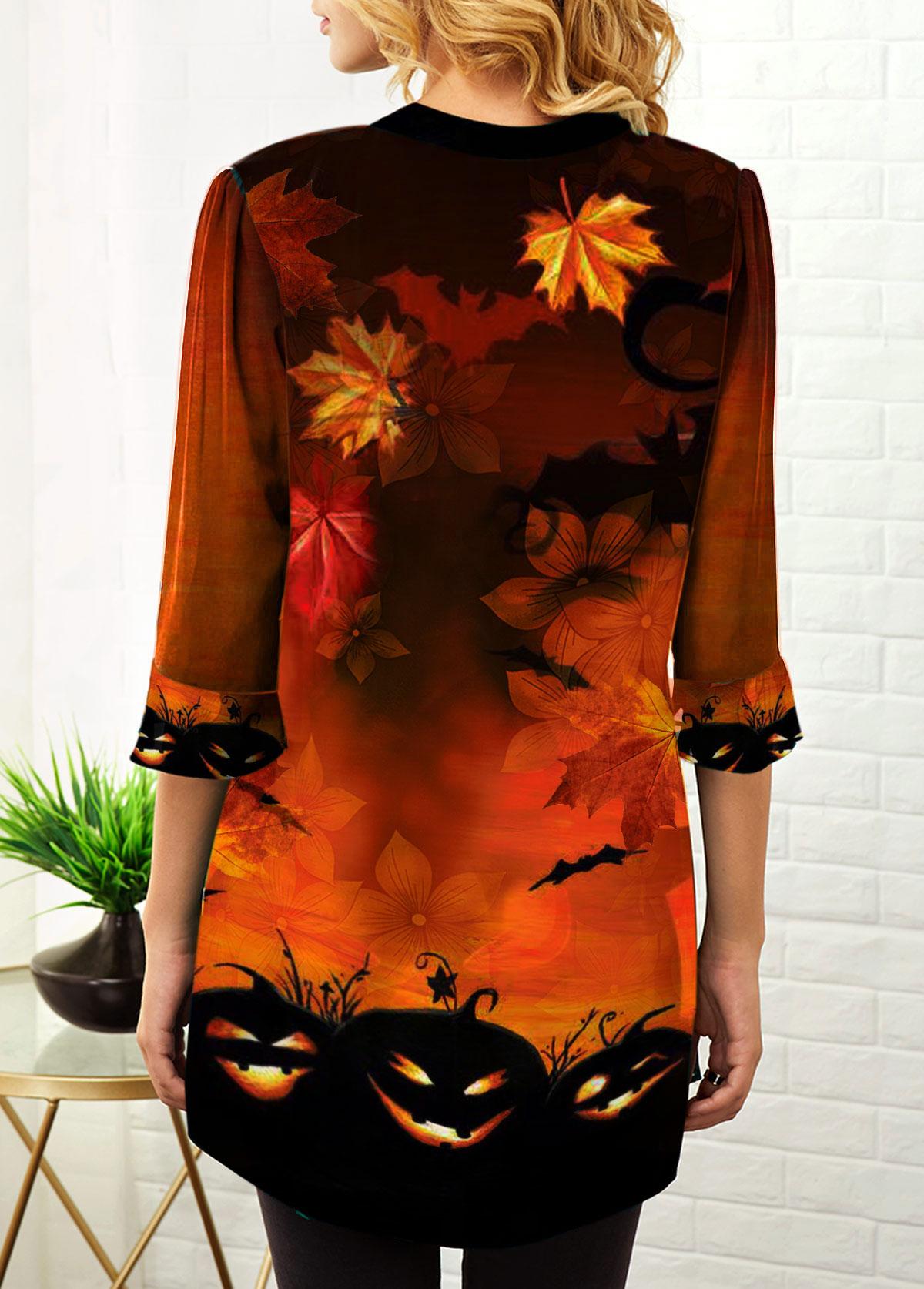 Split Neck Chiffon Panel Halloween Print Blouse