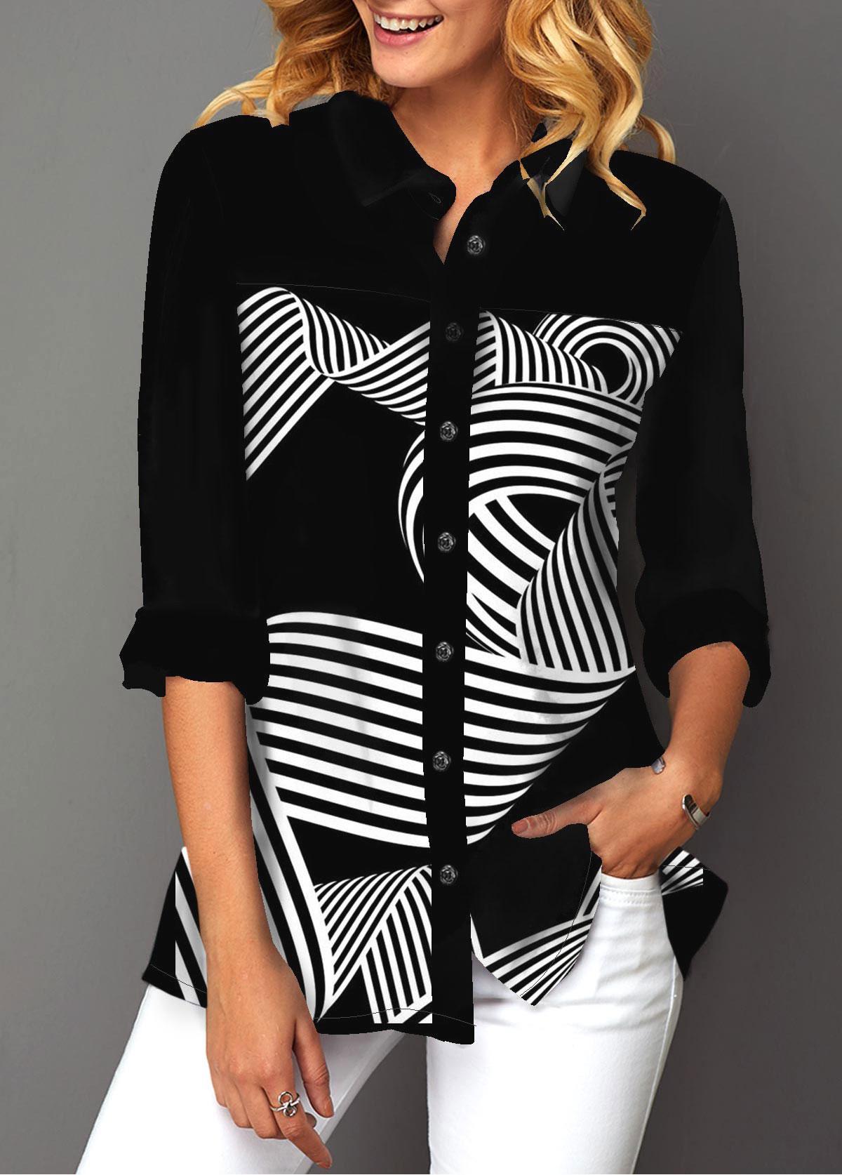 Button Up Geometric Print Turndown Collar Shirt
