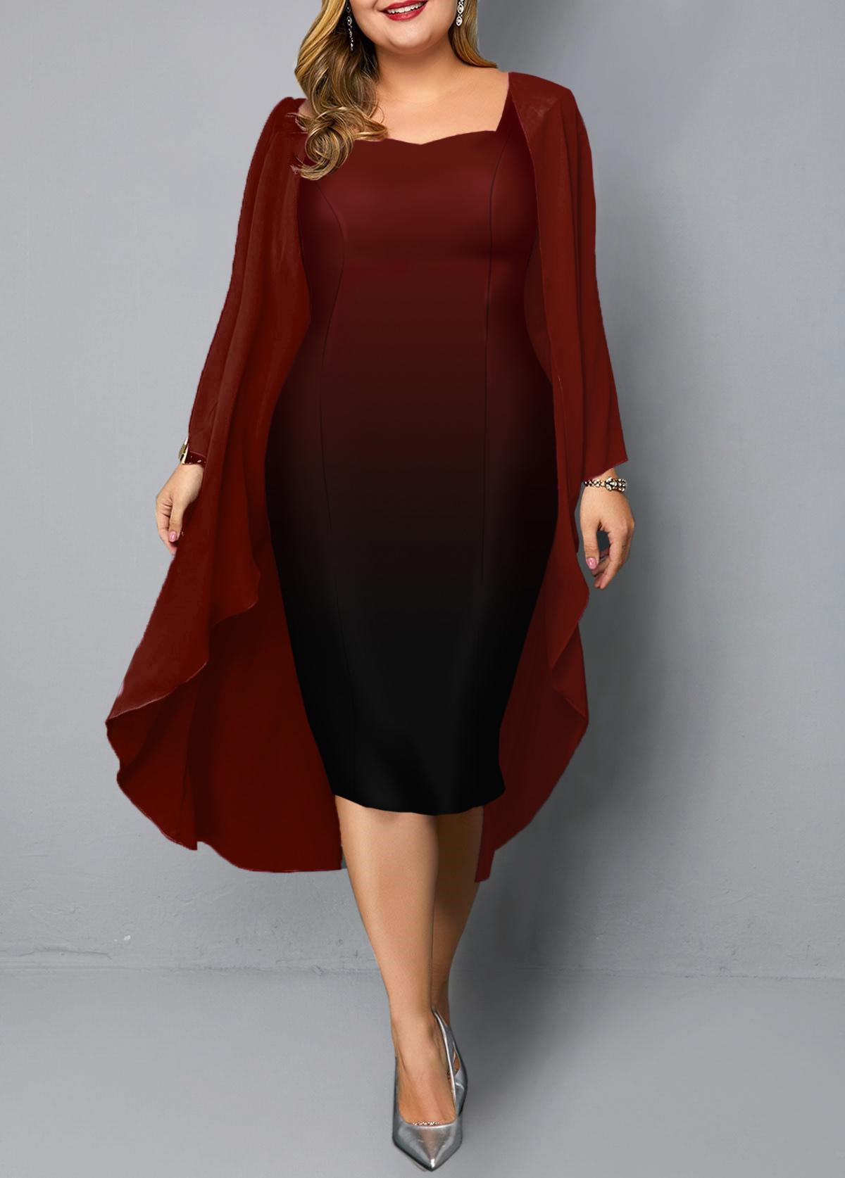Red Chiffon Cardigan and Gradient Plus Size Dress