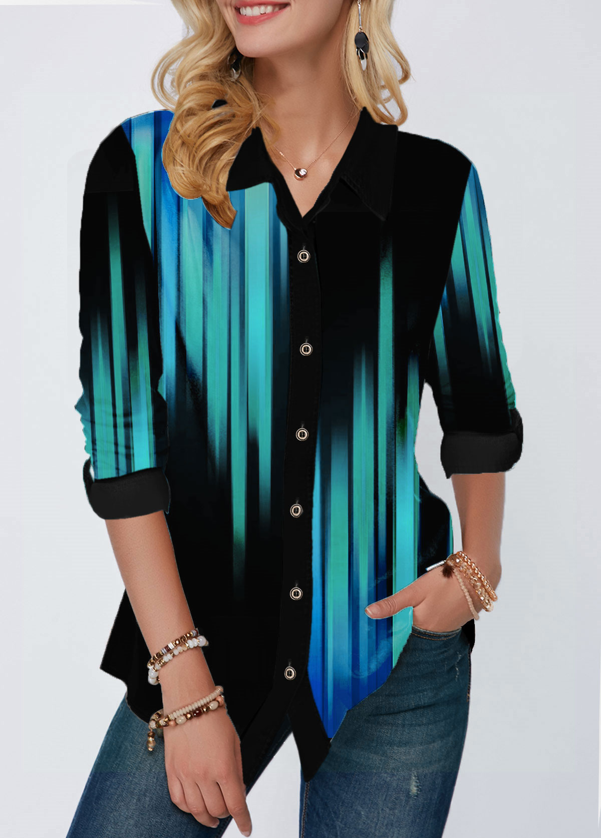 Button Up Printed Turndown Collar Gradient Shirt