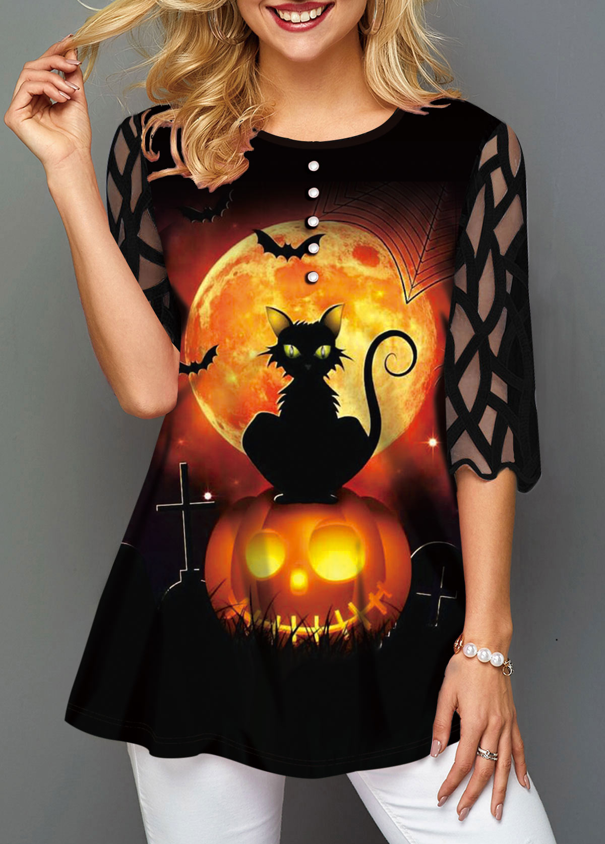 Button Decorated Halloween Print Mesh Panel T Shirt