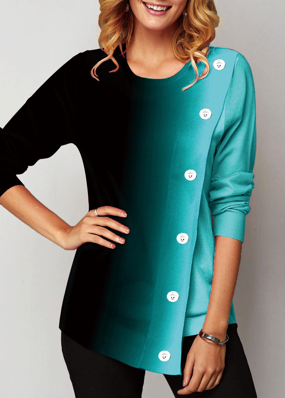 Round Neck Long Sleeve Eyelet Embellished Sweatshirt
