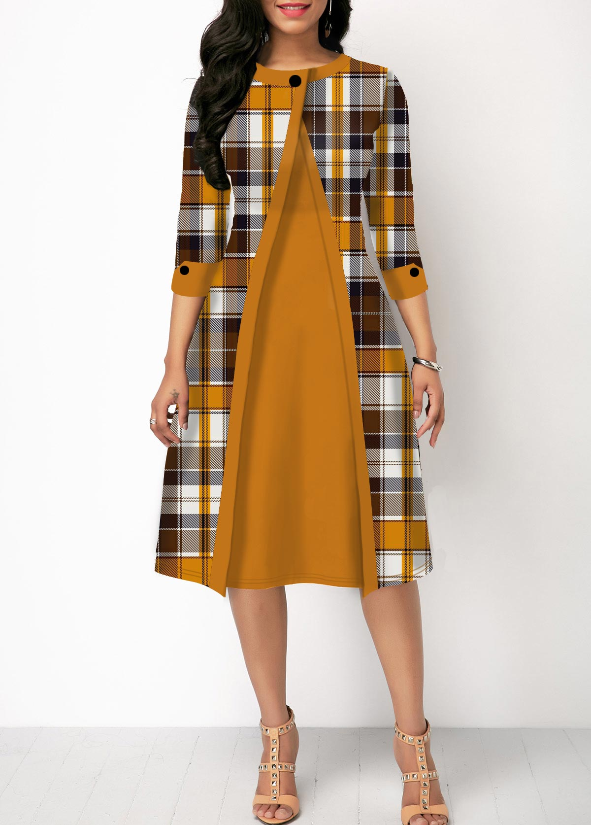 Round Neck Button Detail Plaid Print Dress