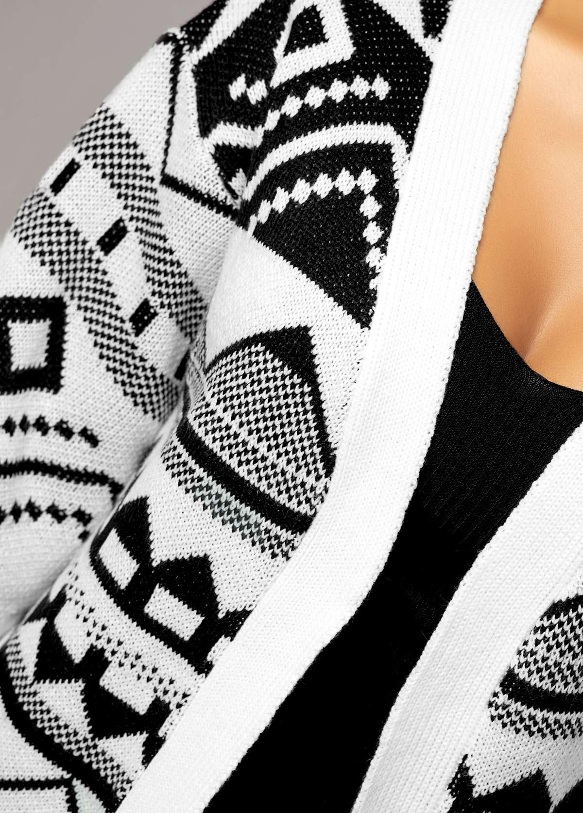 Open Front Tassel Hem Tribal Pattern Cardigan