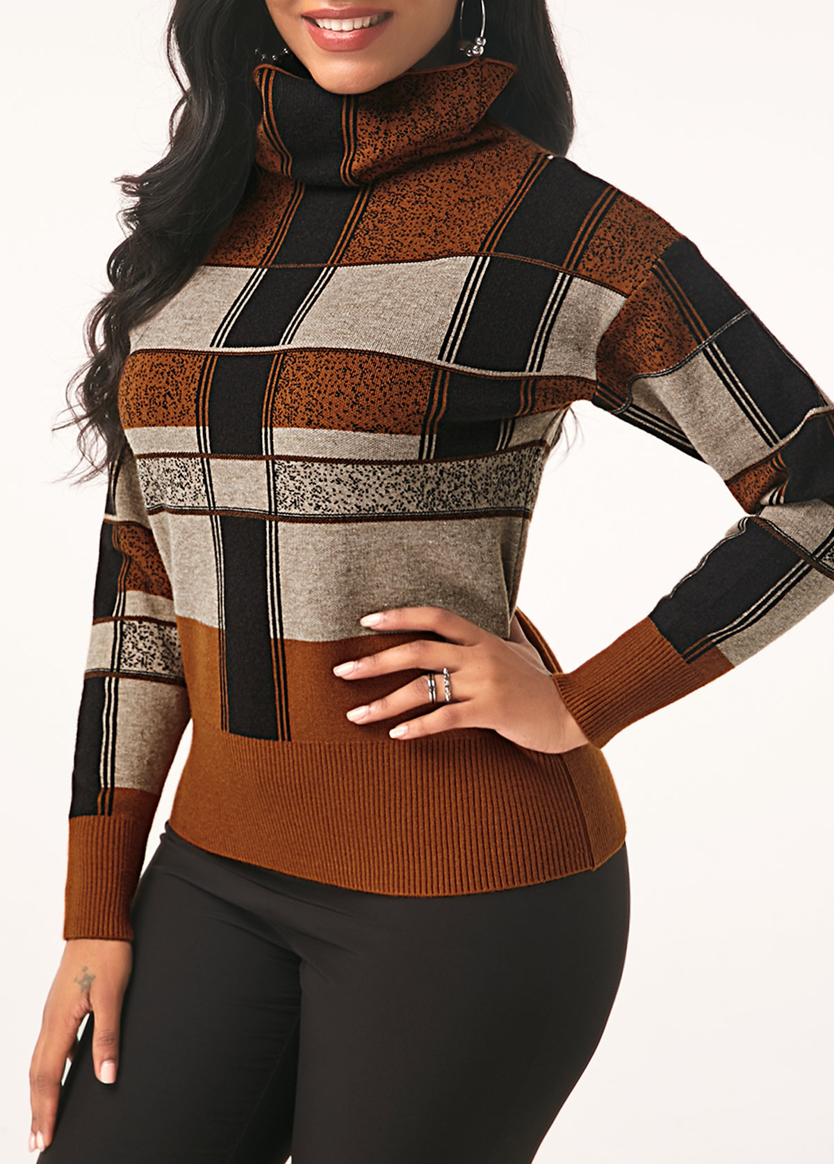 Plaid Pattern Turtleneck Long Sleeve Sweater