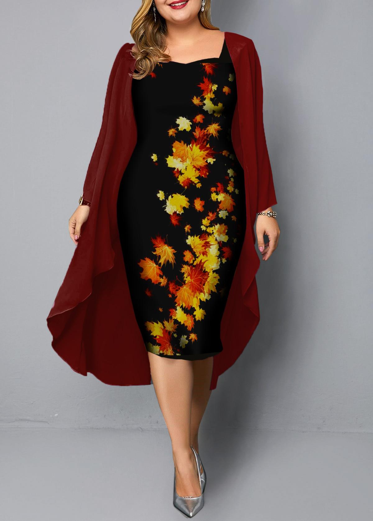 Chiffon Cardigan and Plus Size Leaf Print Dress