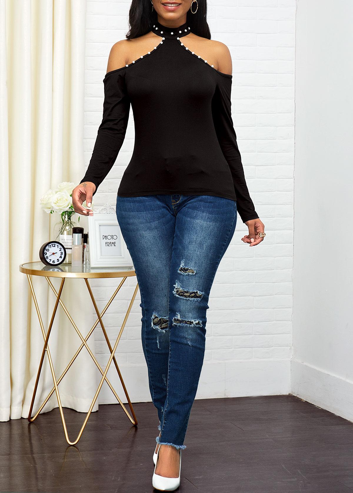 Black Embellished Neck Cold Shoulder Sweater