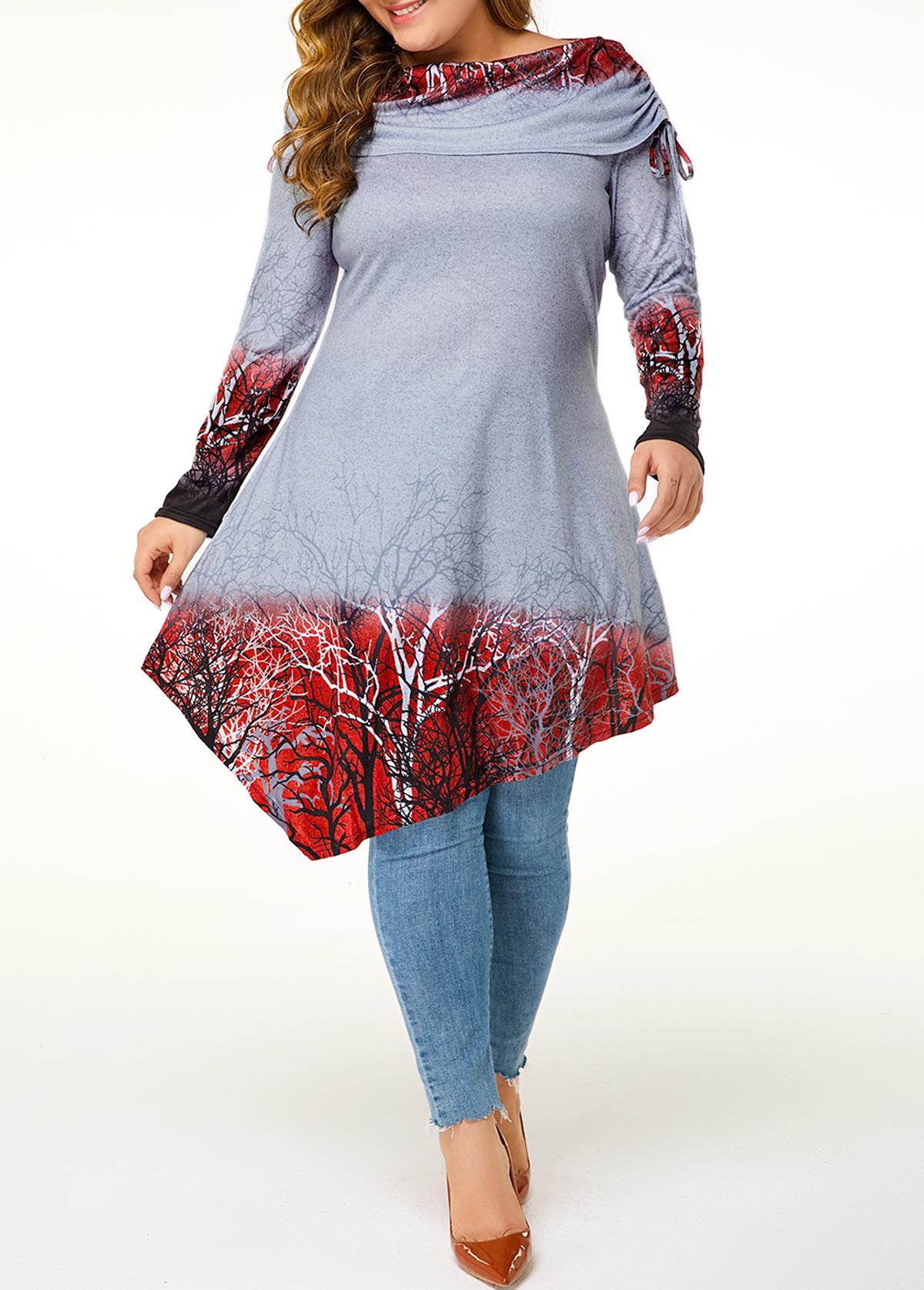 Plus Size Printed Asymmetric Hem T Shirt