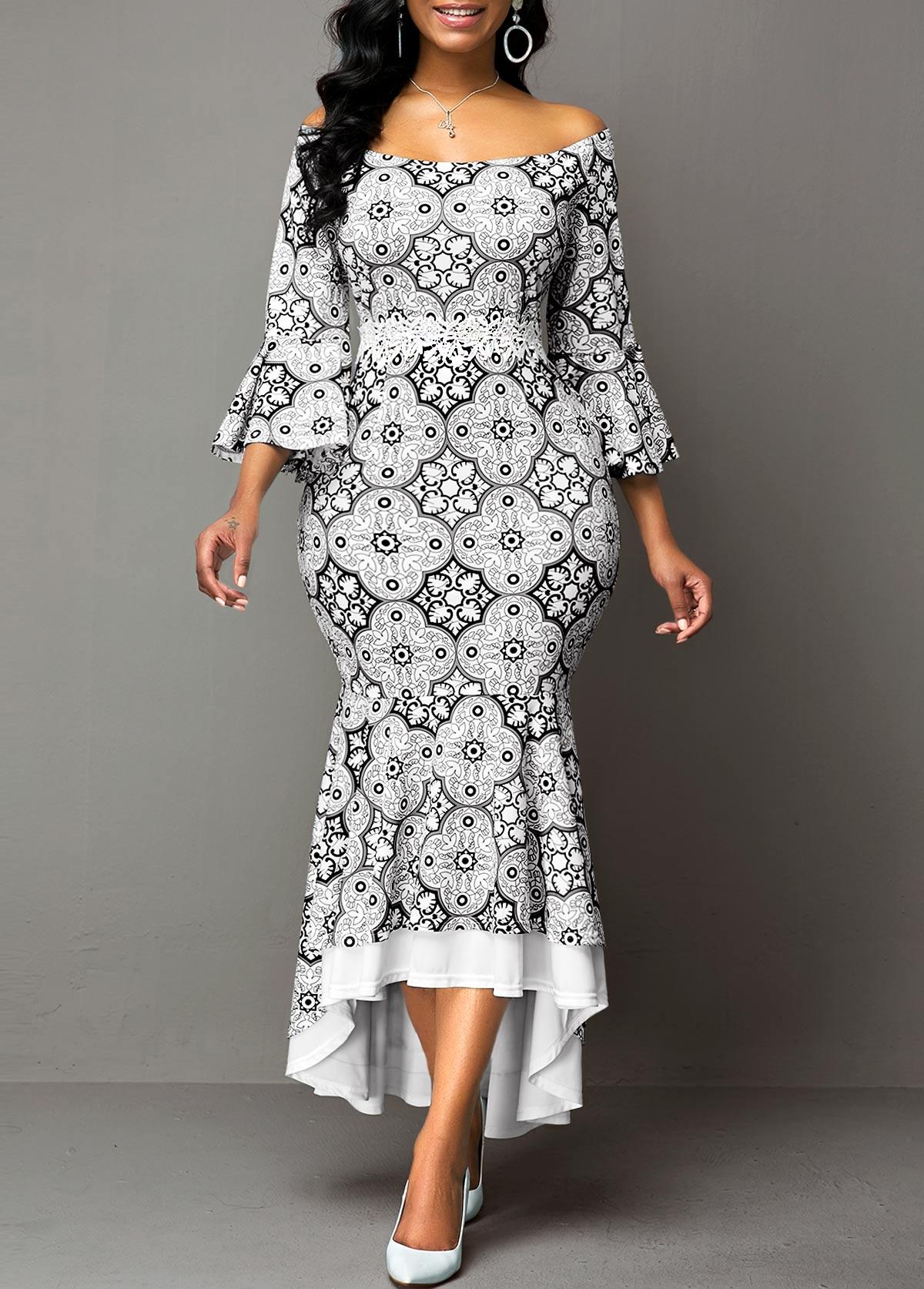 Flare Sleeve Off the Shoulder Ruffle Hem Dress