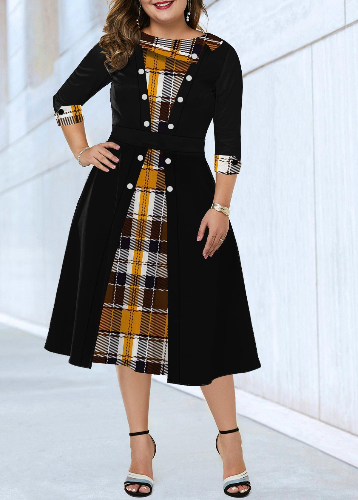 Plaid Print Plus Size Button Detail Dress