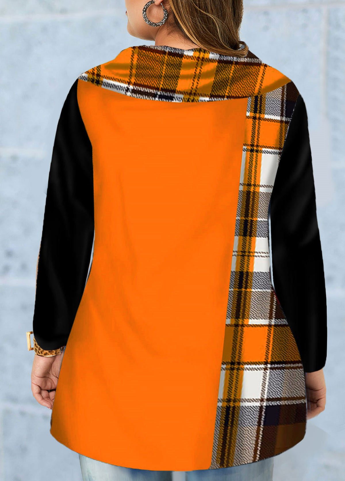 Inclined Button Plus Size Plaid Print T Shirt