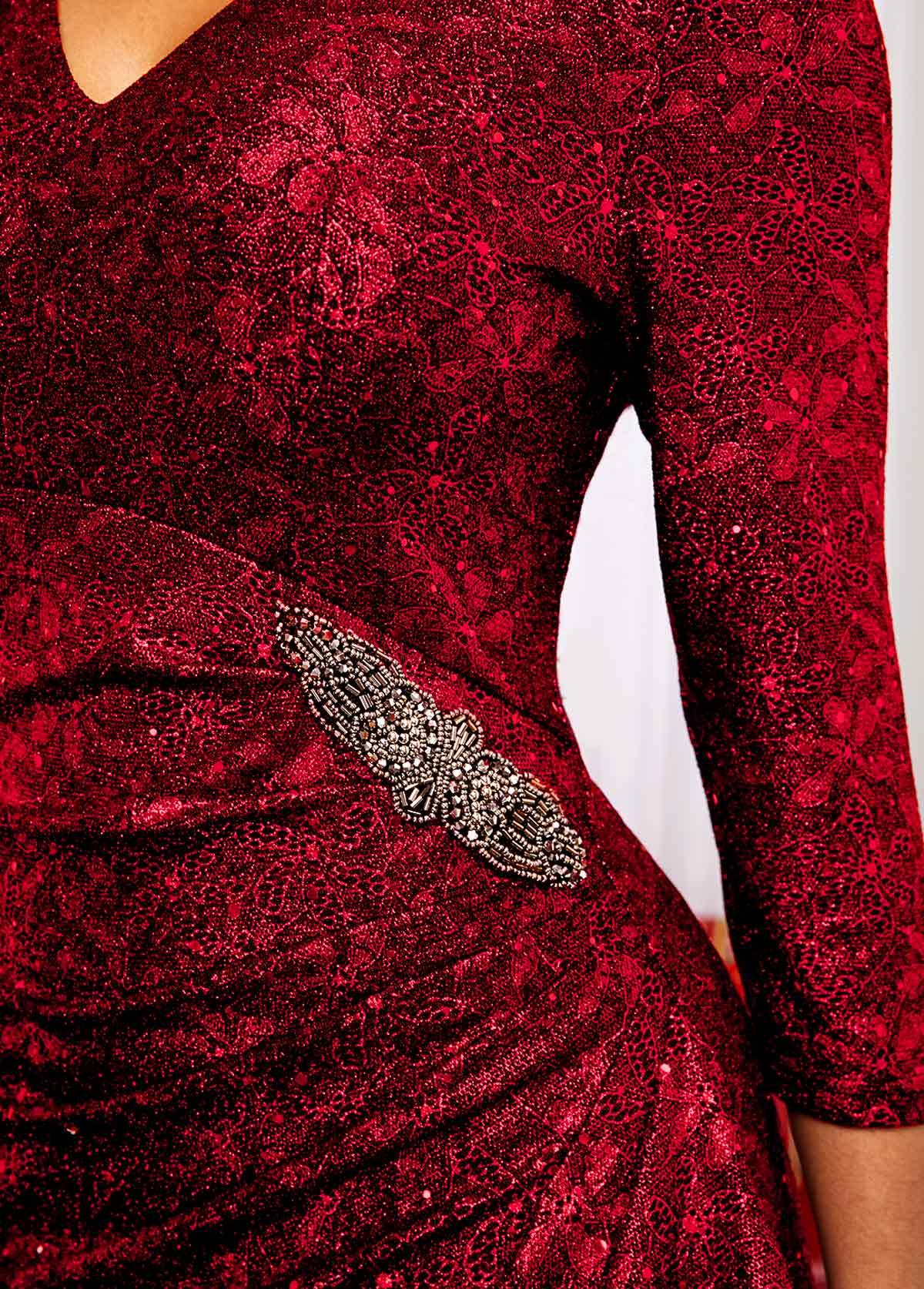 Red Three Quarter Sleeve V Neck Dress