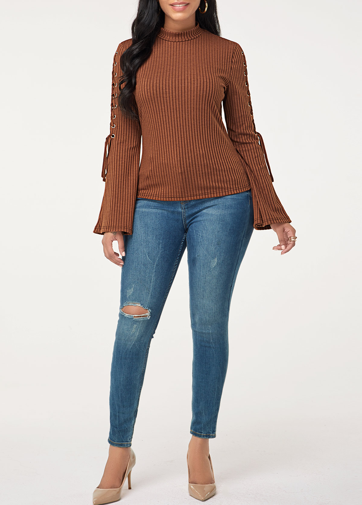 Flare Sleeve Lace Up Pullover Sweater
