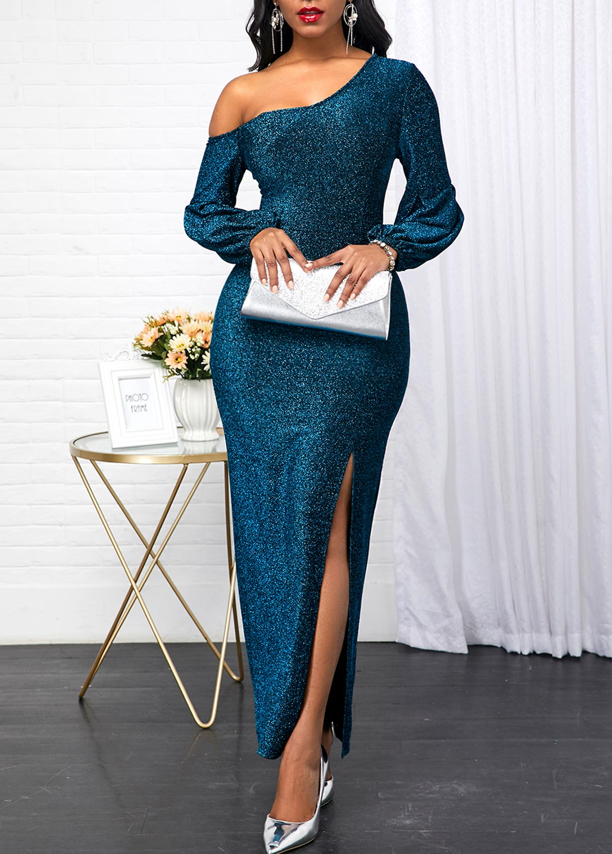 Long Sleeve Peacock Blue Skew Neck Dress