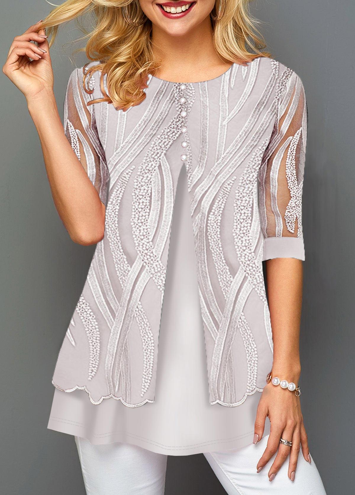 Lace Patchwork Half Sleeve Button Detail T Shirt