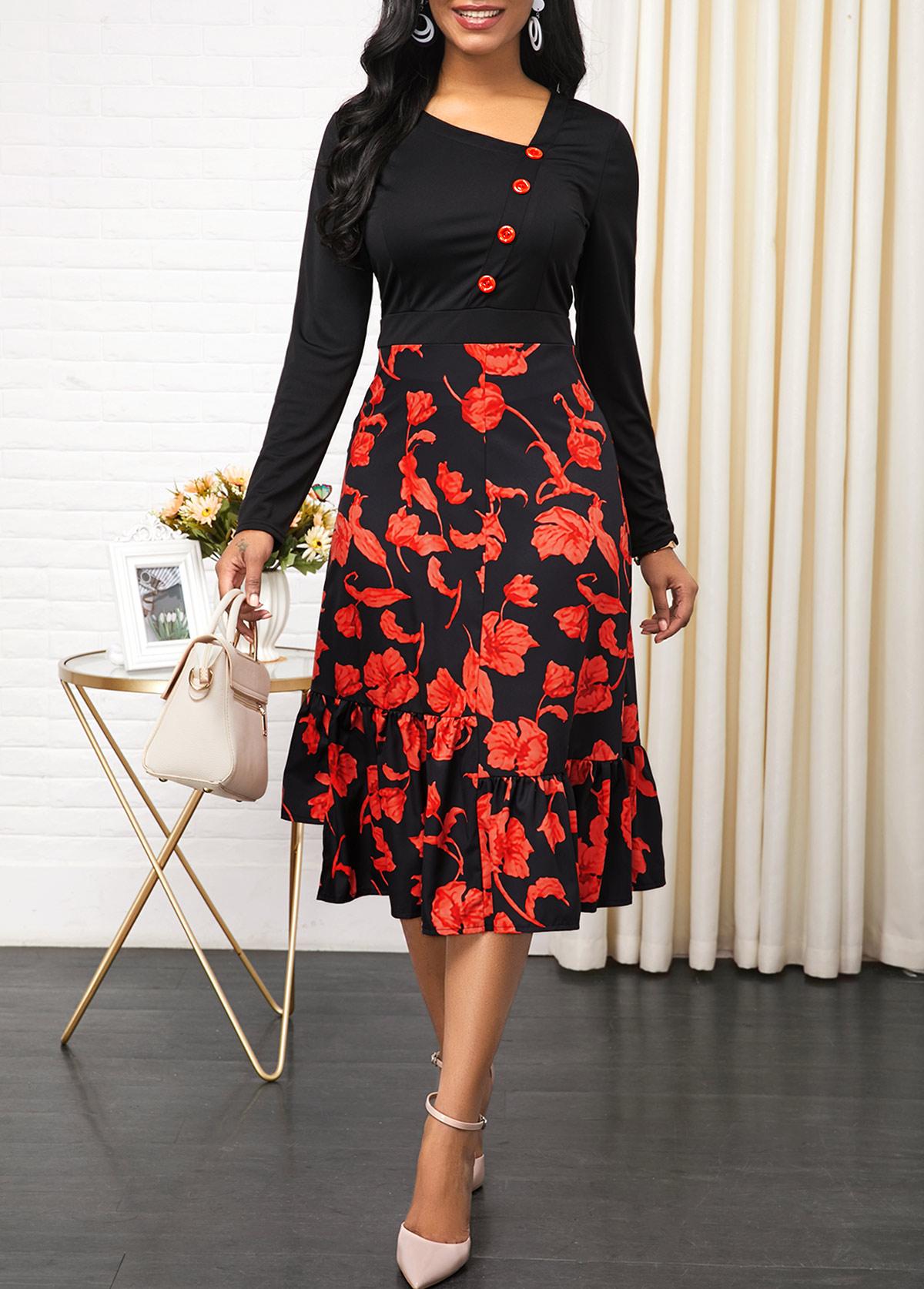 Side Zipper Floral Print Button Detail Dress