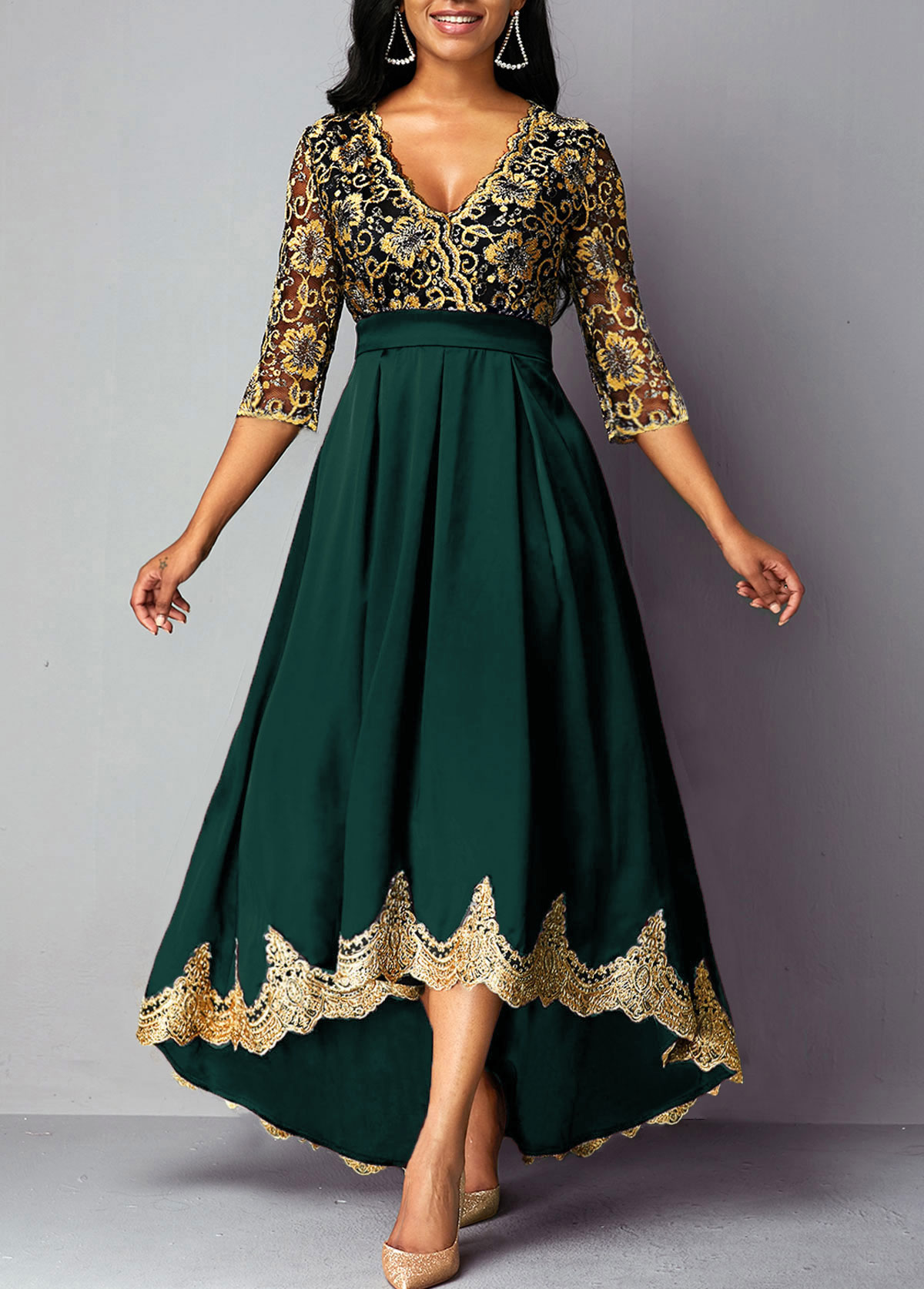 Plunging Neck Lace Panel High Low Dress