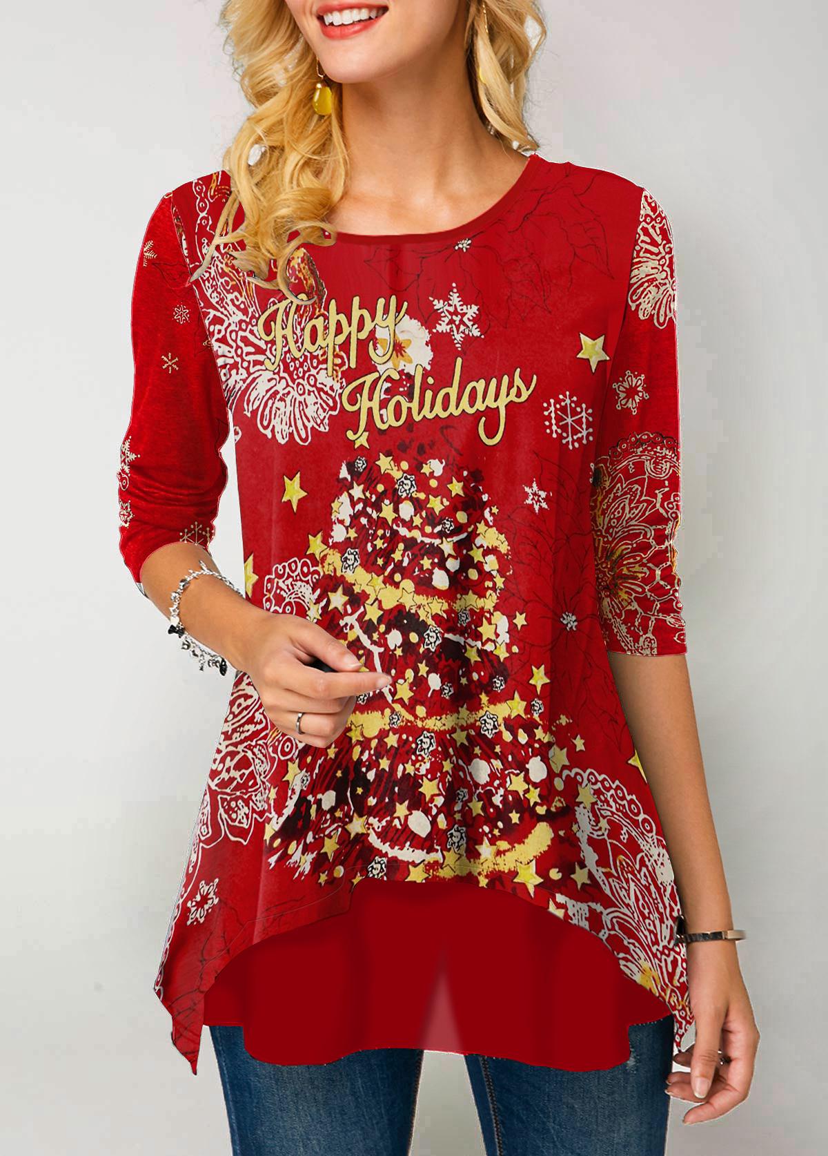 Round Neck Christmas Print Long Sleeve T Shirt