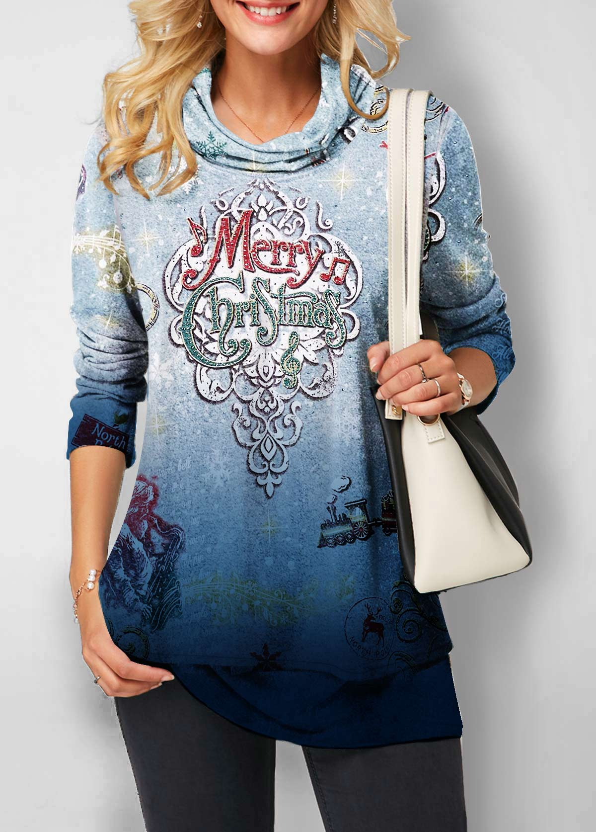 Christmas Print Cowl Neck Long Sleeve Sweatshirt