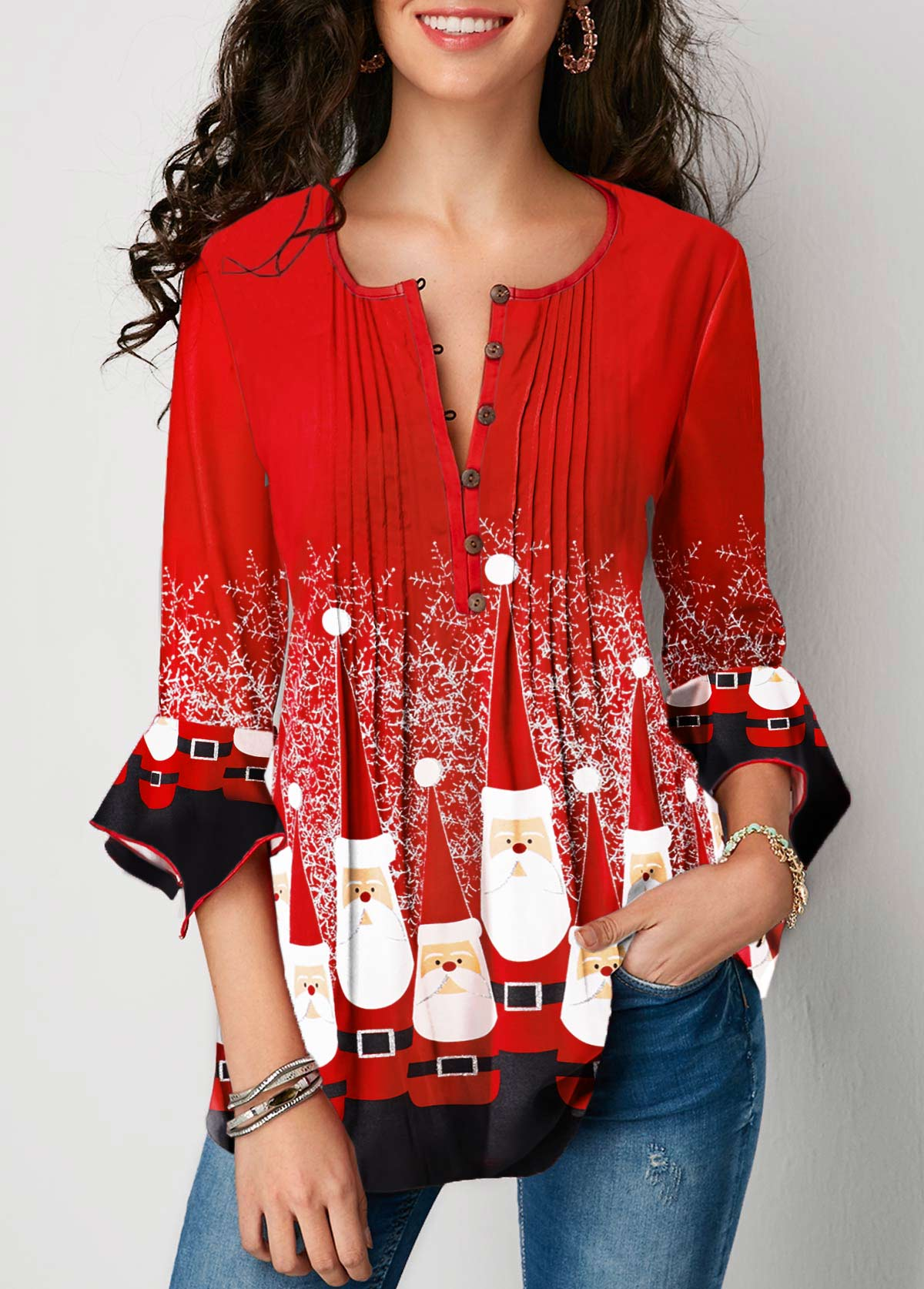 Crinkle Chest Christmas Print Flare Cuff Blouse