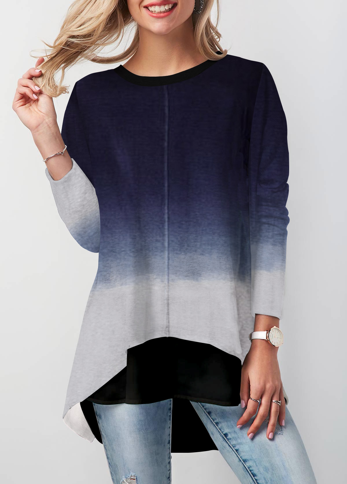 Round Neck Long Sleeve Asymmetric Hem T Shirt
