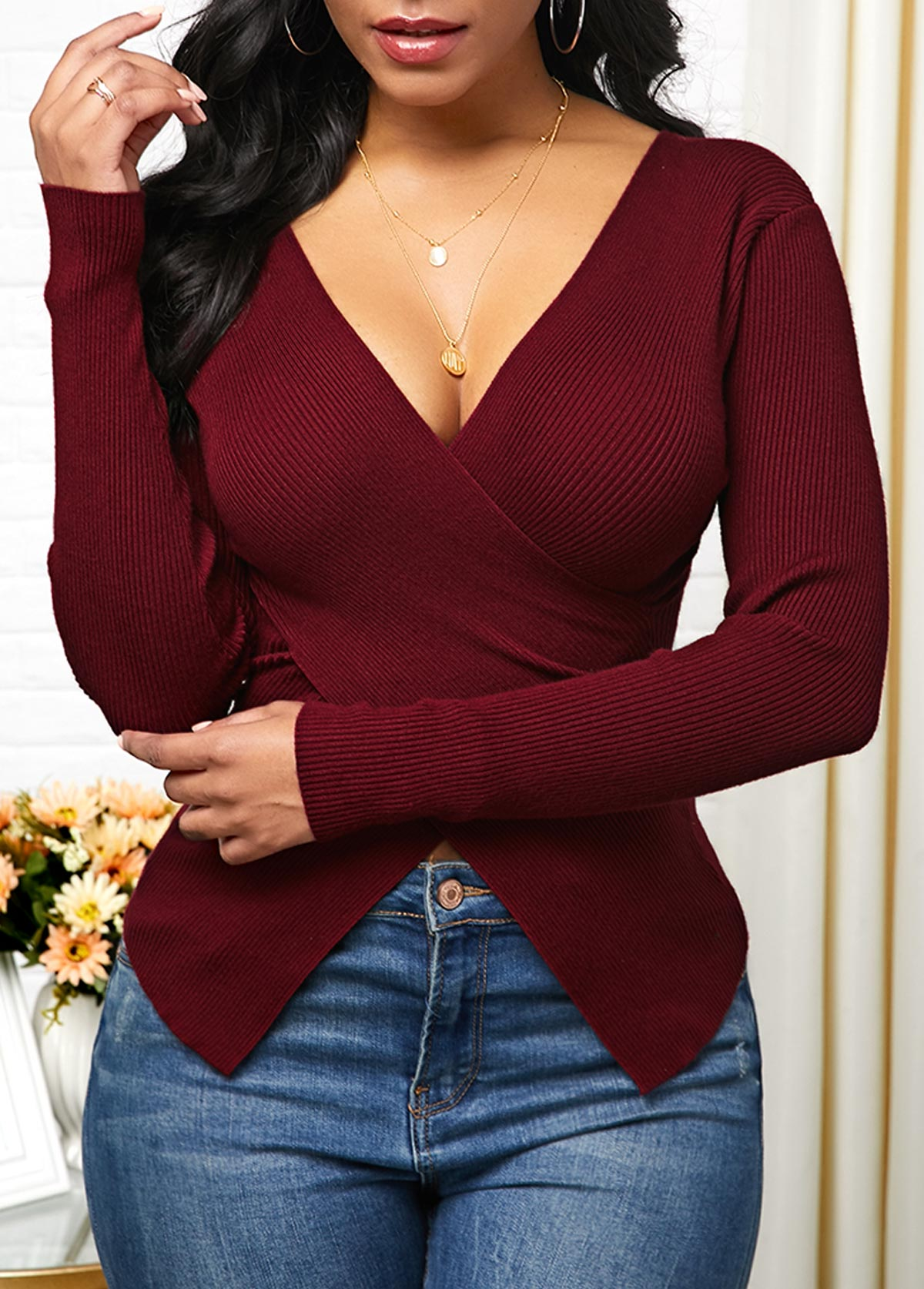 Crossover Hem Plunging Neck Pullover Sweater