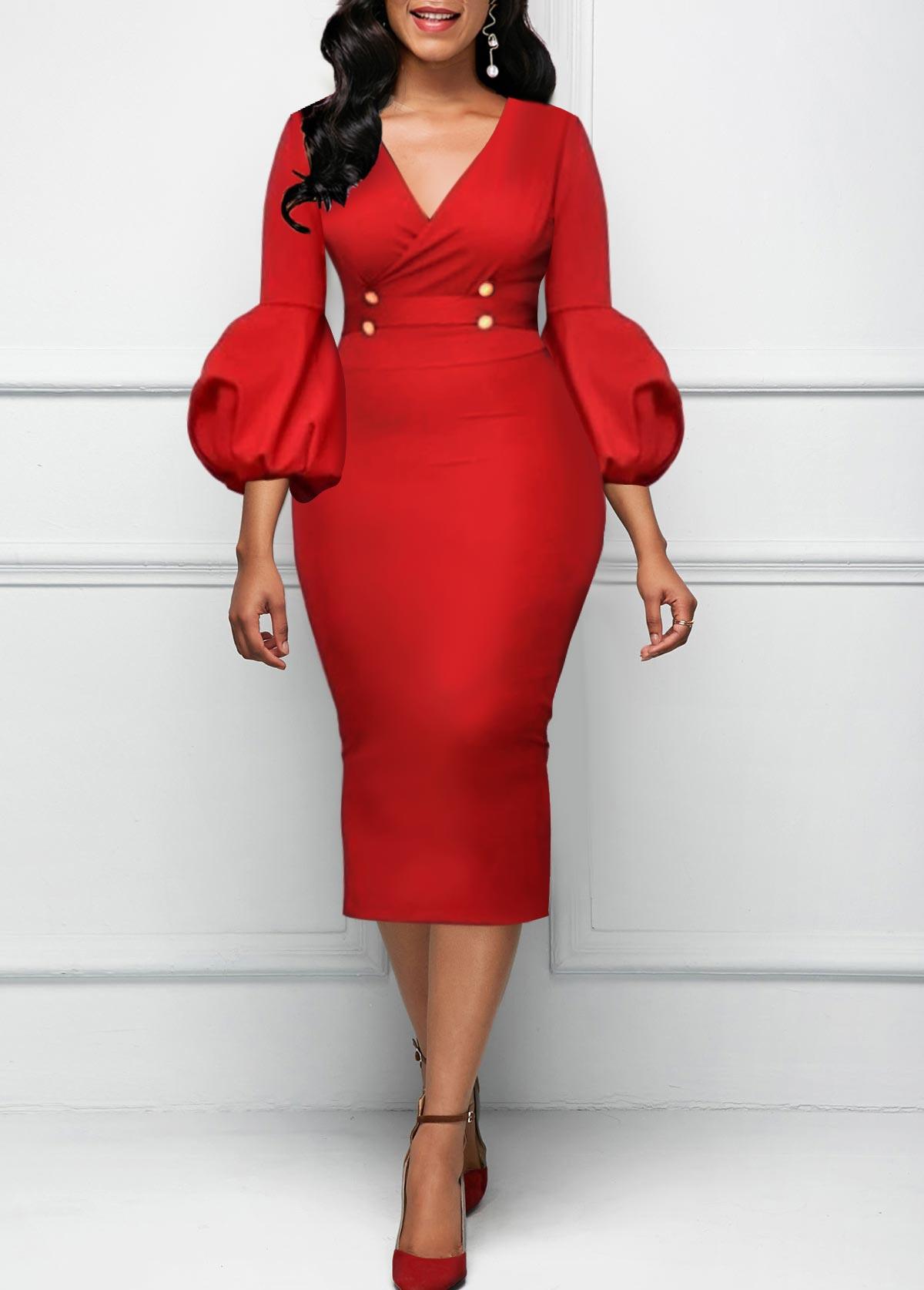 Red High Waist V Neck Dress