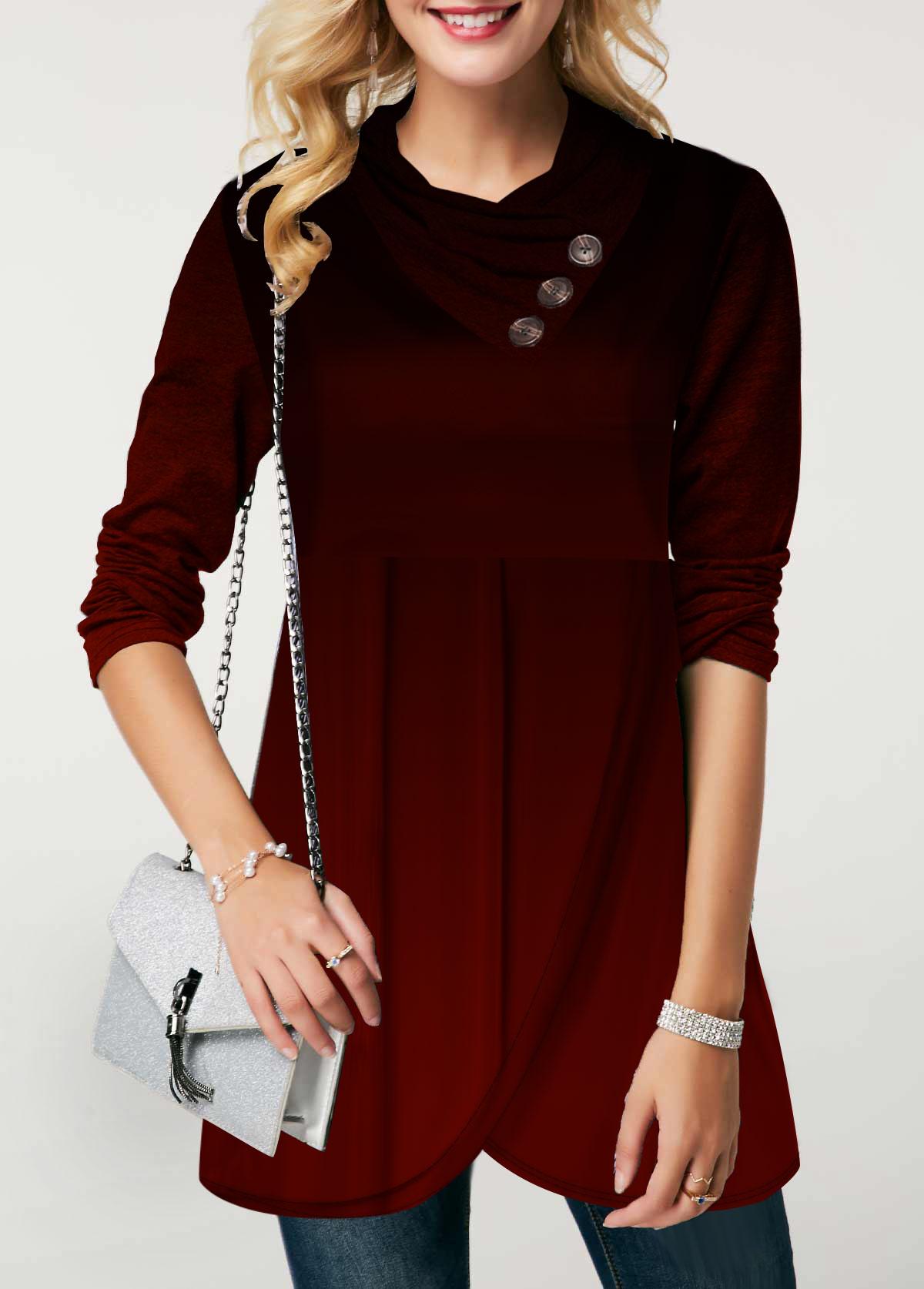 Asymmetric Hem Long Sleeve Button Detail Sweatshirt