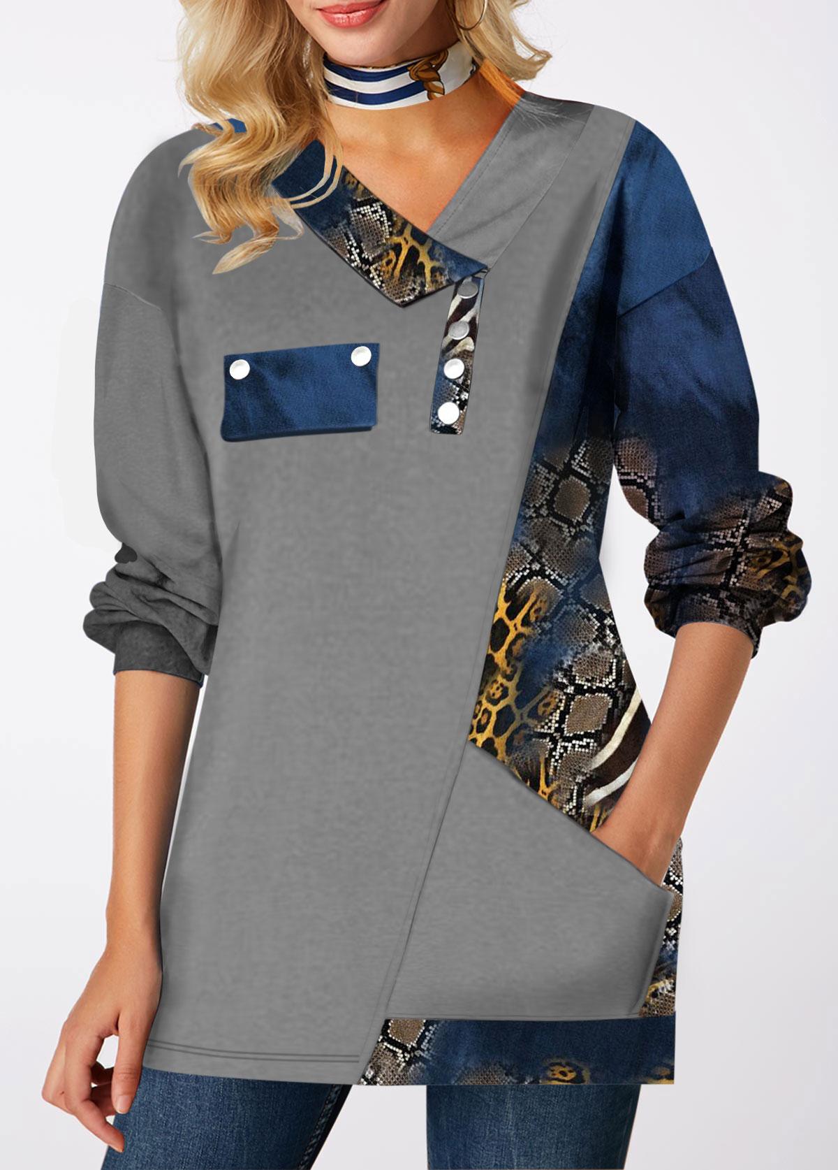 Printed Pocket Long Sleeve T Shirt