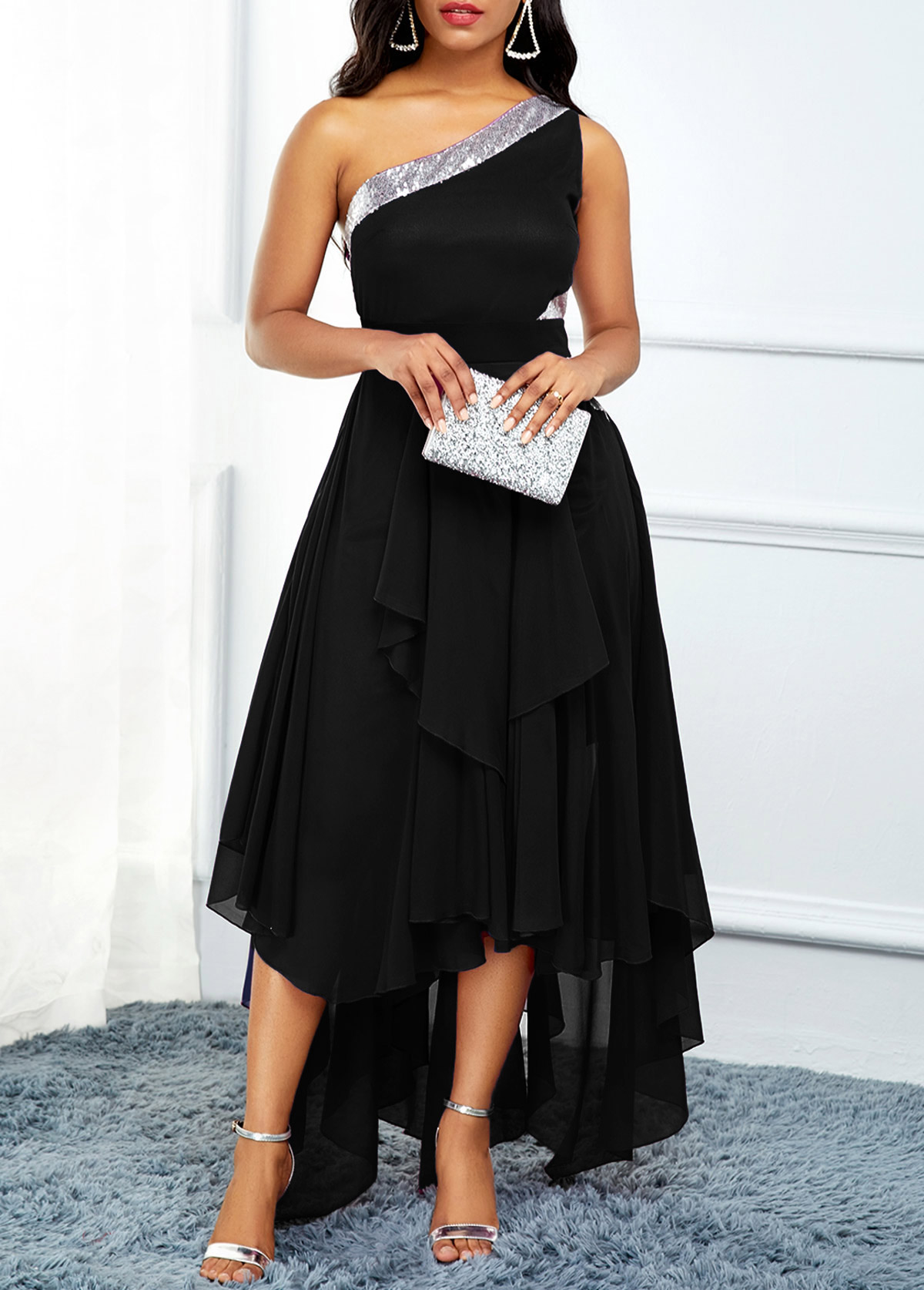High Waist One Shoulder Asymmetric Hem Dress