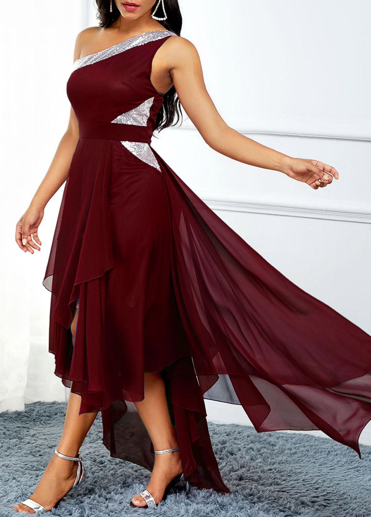 High Waist Asymmetric Hem One Shoulder Dress