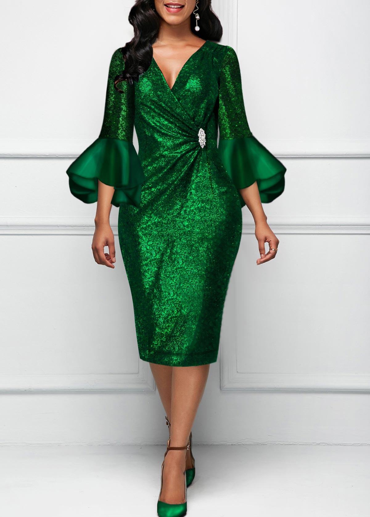 Flare Sleeve Dark Green Round Neck Dress