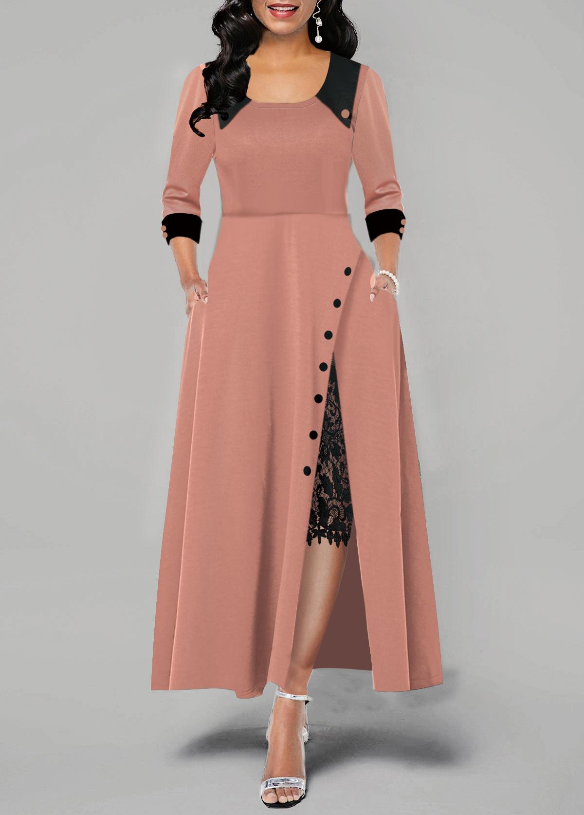 Button Detail Lace Panel Side Slit Maxi Dress