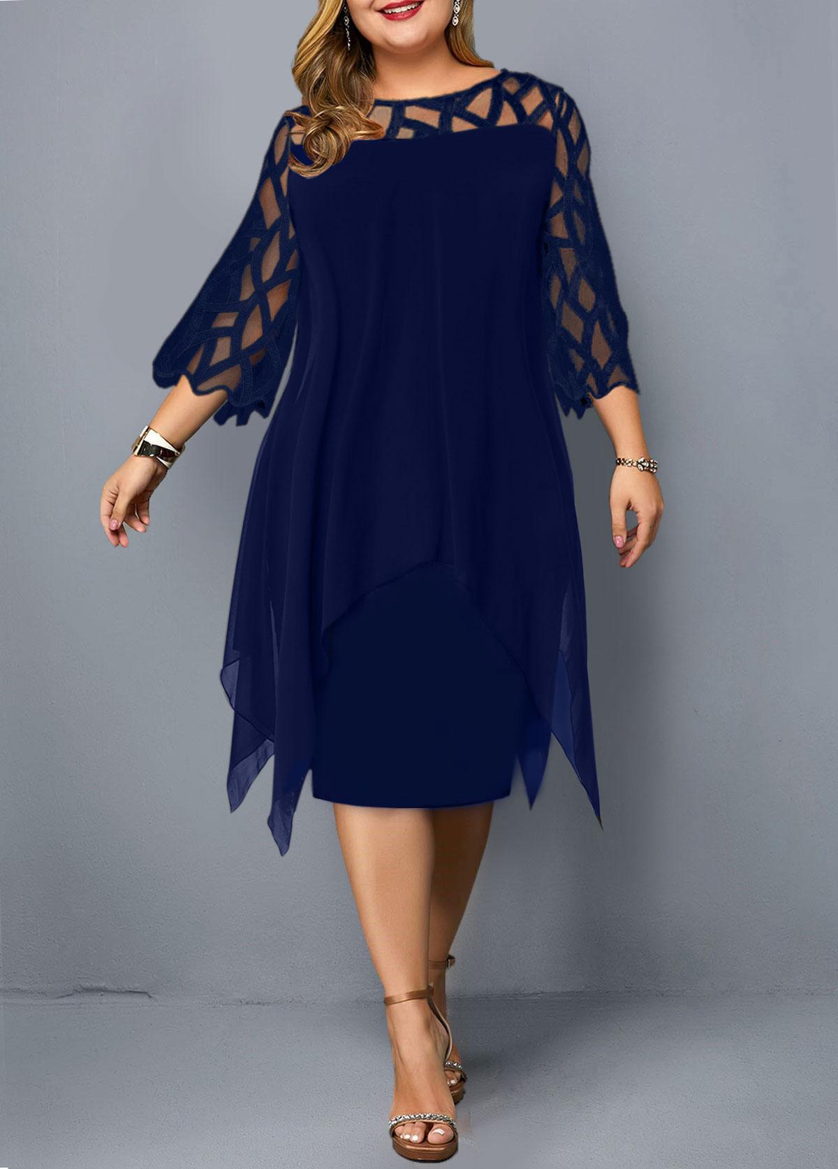 Mesh Panel Plus Size Overlay Embellished Dress