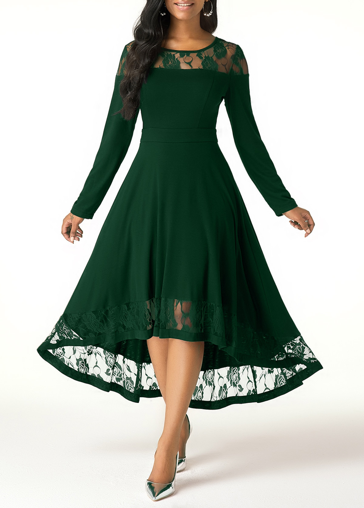 Long Sleeve Lace Panel Green High Low Dress