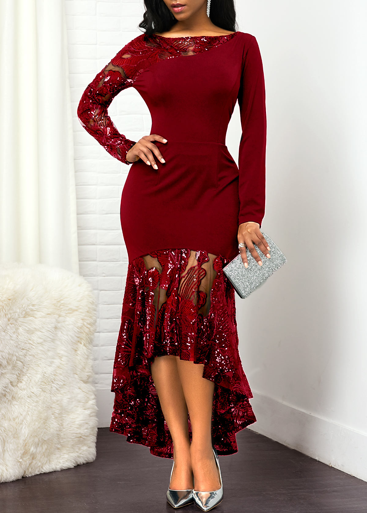 Sequin Embellished Long Sleeve Lace Panel Dress