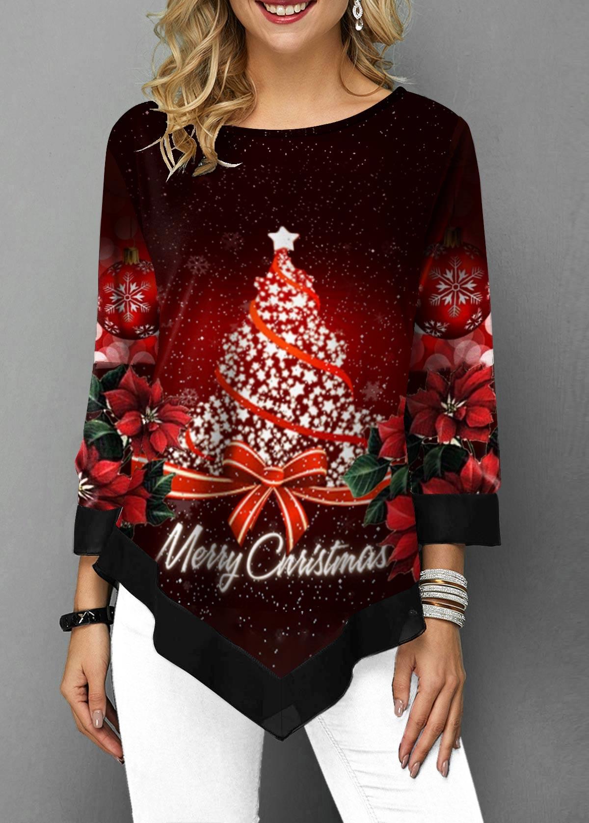 Christmas Tree Print Asymmetric Hem T Shirt