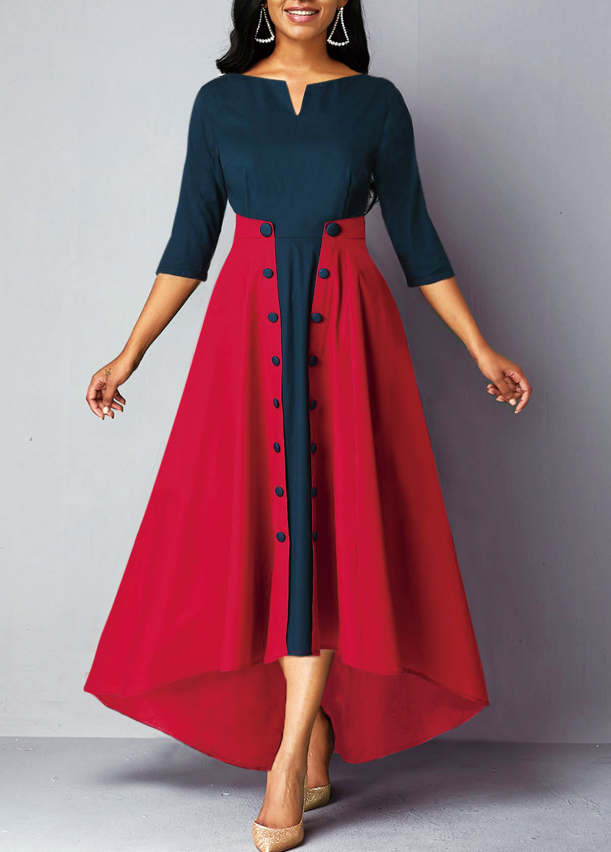High Waist Button Embellished Split Neck Dress