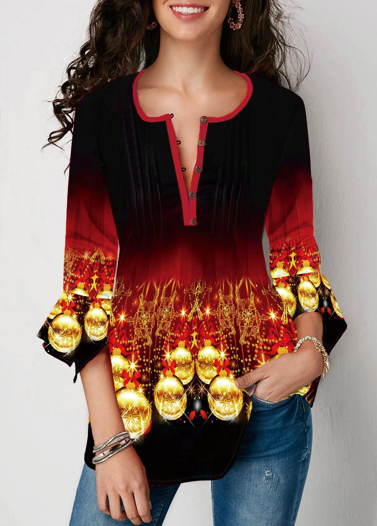 Gradient Christmas Print Flare Cuff Blouse