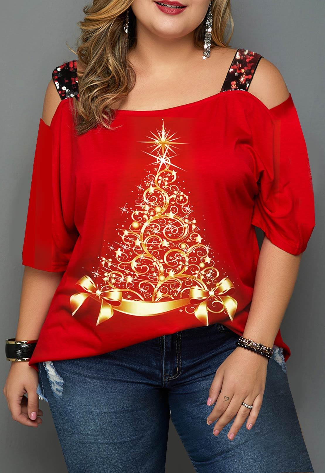 Christmas Print Plus Size Ladder Cutout T Shirt