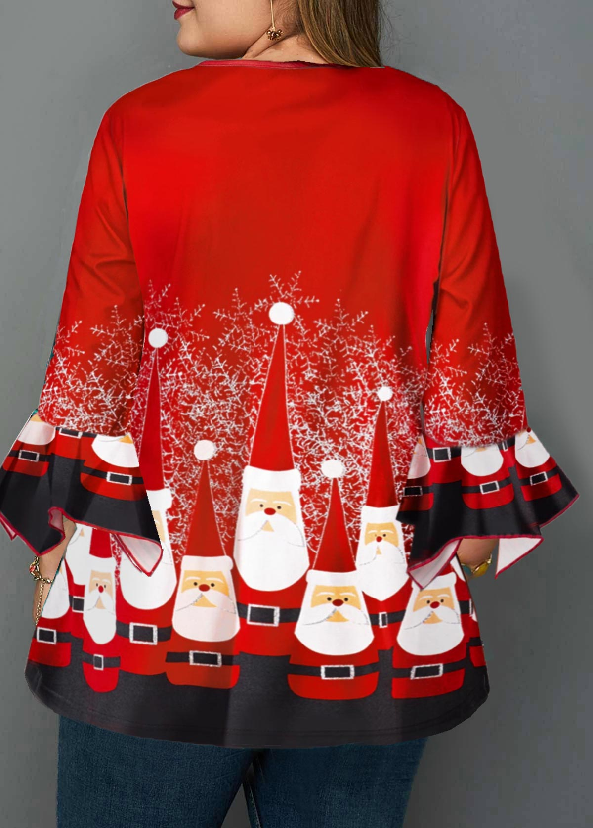 Christmas Print Crinkle Chest Plus Size Blouse