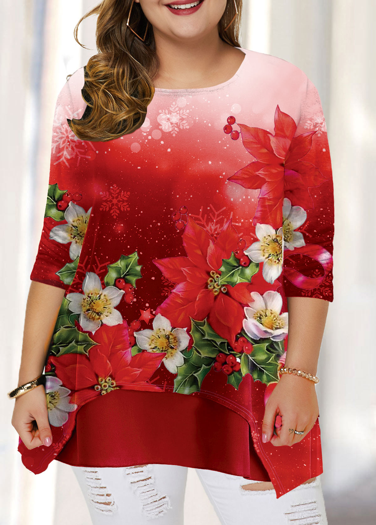 Plus Size Red Christmas Flower Print T Shirt